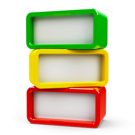 Three color rectangle - represents three steps, three-dimensional rendering