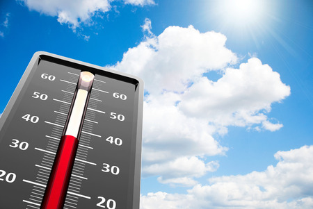 Thermometer indicates high temperature on the blue sky, three-dimensional rendering