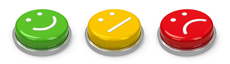 Positive, neutral and negative buttons isolated on white background, three-dimensional rendering