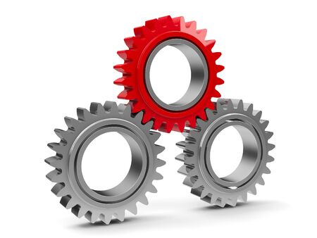 Photo pour Three gears with red gear - team cooperation concept, three-dimensional rendering - image libre de droit