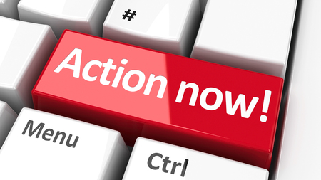 Photo pour Action now! key on the computer keyboard - call to urgent action, three-dimensional rendering - image libre de droit