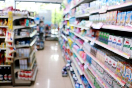 Photo pour Blurred photo in store. Stone for shopping zone blurred background. Supermarket,department store , Photo concept blurred background and store.  - image libre de droit