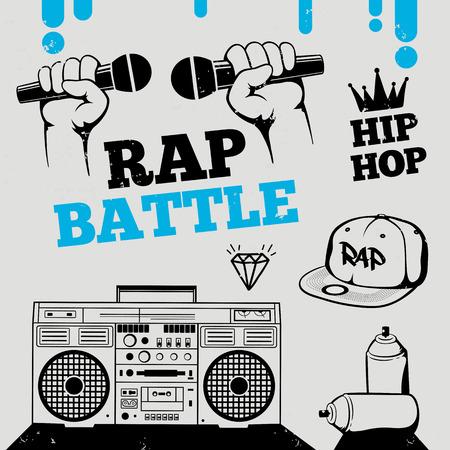 Rap battle, hip-hop, breakdance music icons, elements. Isolated vector illustration