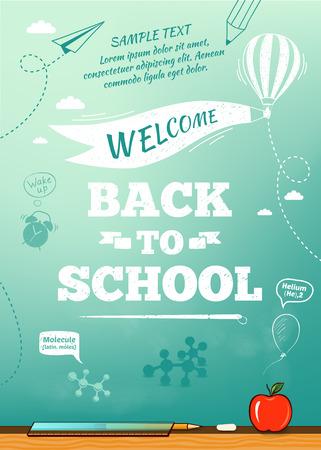 Foto de Back to school poster, education background. Vector illustration - Imagen libre de derechos