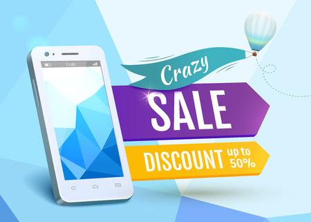 Sale Smartphone, poster design. Vector illustration