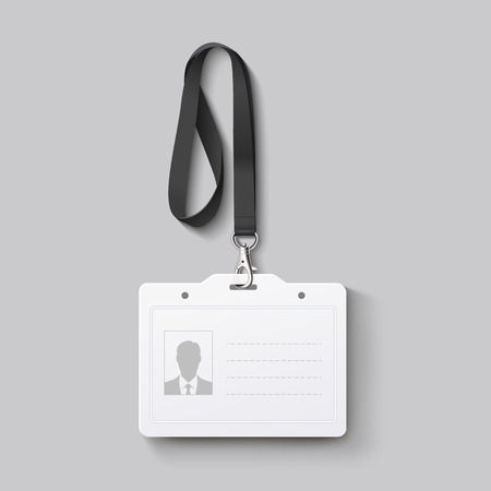 id badge with lanyard. Vector illustration