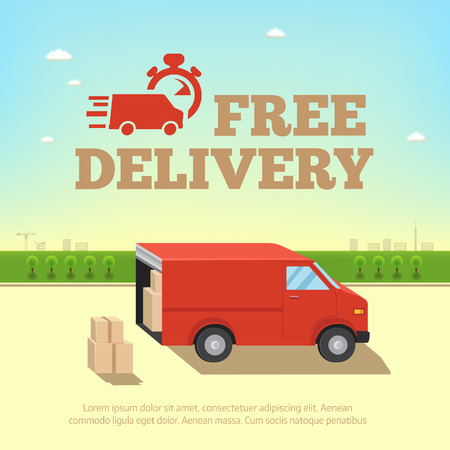 Illustration pour Illustration of delivery service concept. Truck van for fast shipping against the background of the cityscape - image libre de droit