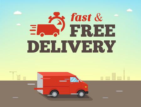 Ilustración de Illustration of  fast shipping concept. Truck van of delivery rides at high speed - Imagen libre de derechos