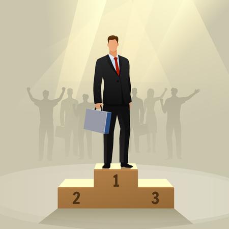 Vektor für Success businessman character standing in a podium. - Lizenzfreies Bild