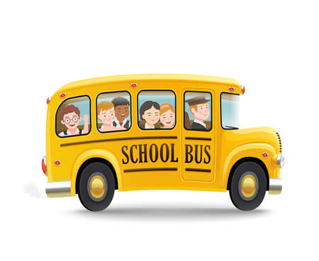Illustration for Cartoon school bus with children. Back to school concept. Vector illustration. - Royalty Free Image