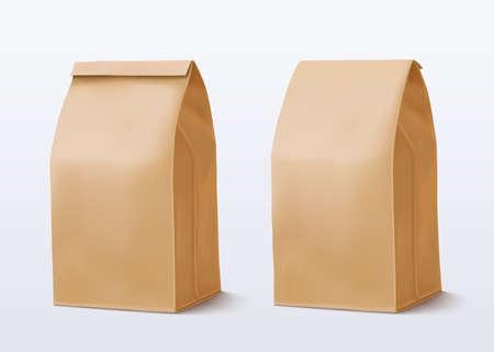 Illustration pour Paper bag on white background. Brown Shopping Bag. Two Craft package. Vector illustration - image libre de droit