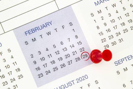 Photo pour A calendar on February 29 on a leap year, leap day - image libre de droit