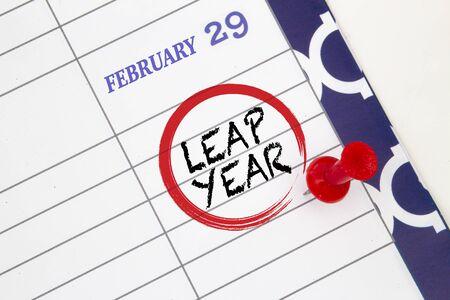Photo pour Close up a calendar on February 29 on a leap year - image libre de droit