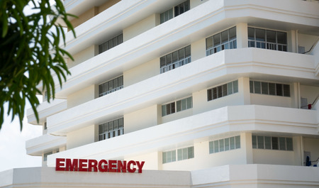 Photo pour Modern public hospital white building , Emergency Room Entrance . - image libre de droit