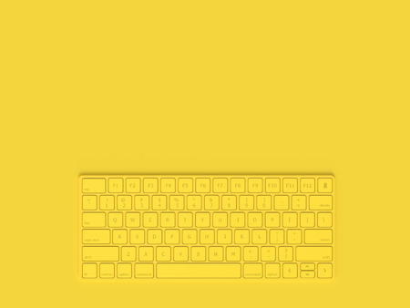 Minimal concept. Keyboard yellow color and copy space for your text, 3D Render.