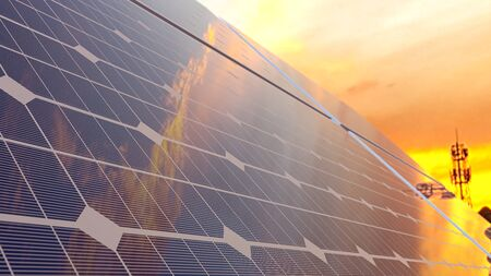 Photo pour Solar panel on the day that the sky was like a flame and selective focus.  Energy background concept, 3D render. - image libre de droit
