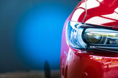 Foto de Led headlight car for customers. Using wallpaper or background for transport and automotive image. - Imagen libre de derechos