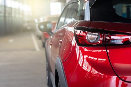 Foto de Car on street blurry background.For automotive automobile or transport transportation image - Imagen libre de derechos