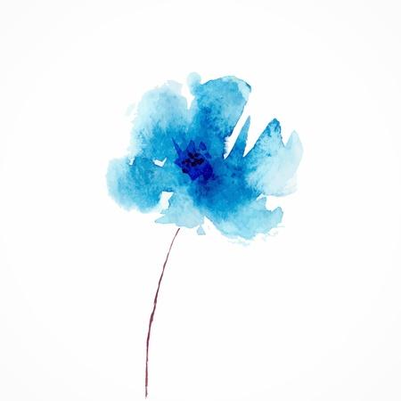 Blue flower  Watercolor floral illustration  Floral decorative element  Vector floral background