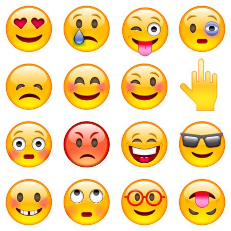 Ilustración de Set of Emoticons. Set of Emoji. Isolated vector illustration on white background - Imagen libre de derechos