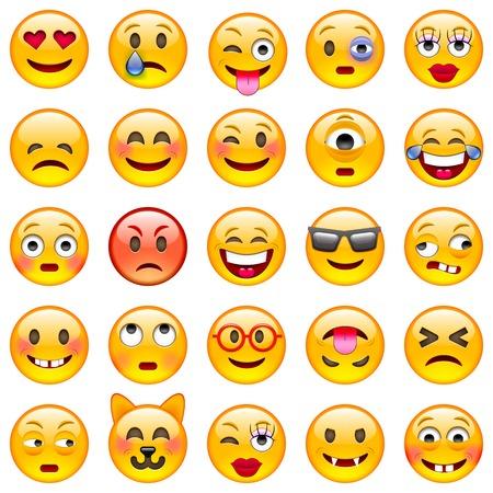 Ilustración de Set of Emoticons. Set of Emoji. Isolated  illustration on white background - Imagen libre de derechos