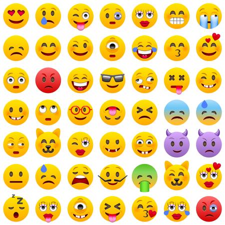 Illustration for Set of Emoticons. Set of Emoji. Smile icons. Isolated illustration on white background - Royalty Free Image