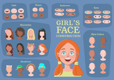 Ilustración de Girl's Character Constructor. From Student to Hipster. Cartoon Girl Face Parts Creation Spare Parts. Cartoon Style Faces. Body Part. Vector Illustration - Imagen libre de derechos