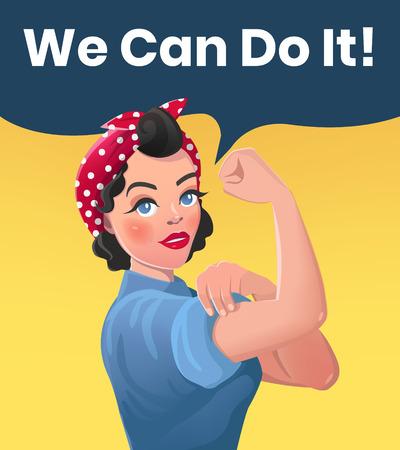 Ilustración de We Can Do It Poster Illustration. Vector Style Sexy Strong Brunette Girl. Classical American Symbol of Female Power, Solidarity, Human Rights, Protest, Feminism, Riot. - Imagen libre de derechos