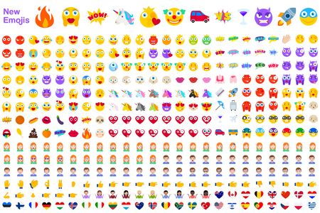 Ilustración de Big Set of New Modern Emojis. Emoticons Flat Vector Illustration Symbols. All World Emotions in Yellow, Red, and Violet Expressions. Hearts, Skulls, Vacation, Sale, New, Versus, Unicorns, Clowns - Imagen libre de derechos