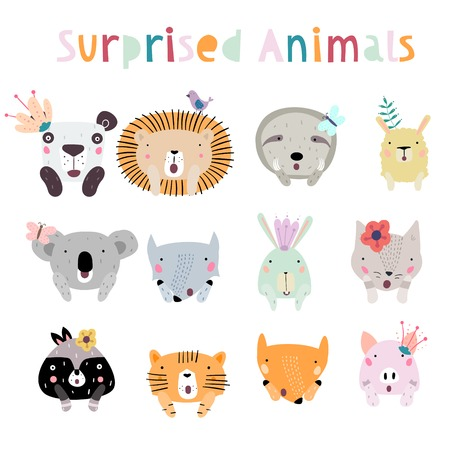 Llama, Lion, Tiger, Wolf, Panda, Cat, Bunny, Pig, and Fox Surprised Animal Characters. Animals in Cute Trendy Modern Cartoon Childish Style. Perfect for Print, Web, App or Any Design