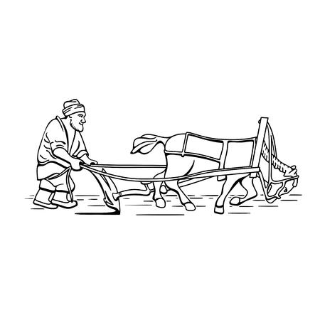 Illustration pour Cartoon plowman farmer and horse vector illustration - image libre de droit