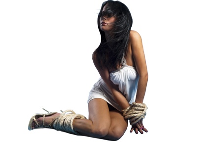 beautiful lady tied with rope over white