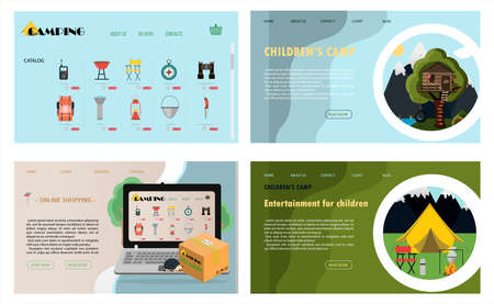Illustration pour A set of vector site pages for camping, health camps and tourism. Flat illustration of the main page of the mobile app, online store. Banners for a website, ad, laptop or smartphone. - image libre de droit