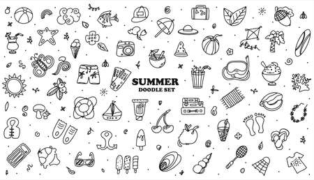 Illustration for A Big vector doodle summer set. Hand draw accessories for beach holidays by the sea. Flat design Illustration for ads, web, flyers, and banners. Set of drawn by hand icons. Summer fruits, food, transport, diving items and clother. - Royalty Free Image