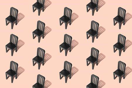 Foto de Empty chairs pattern on pastel background minimal creative concept. - Imagen libre de derechos