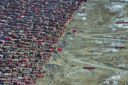 Tibet Buddhist Academy in snow day, Sichuan, China