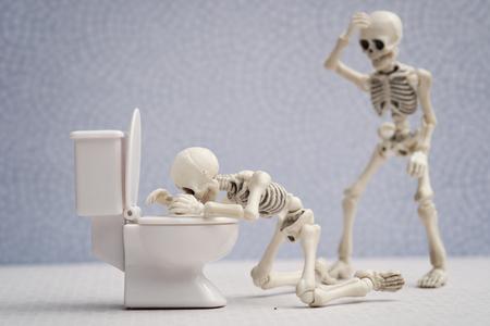 Skeleton got sick in bathroom