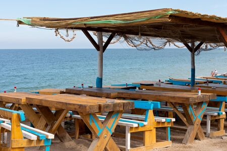 Photo pour Colorful terrace bar at Vama Veche seashore, Romania, Black Sea - image libre de droit