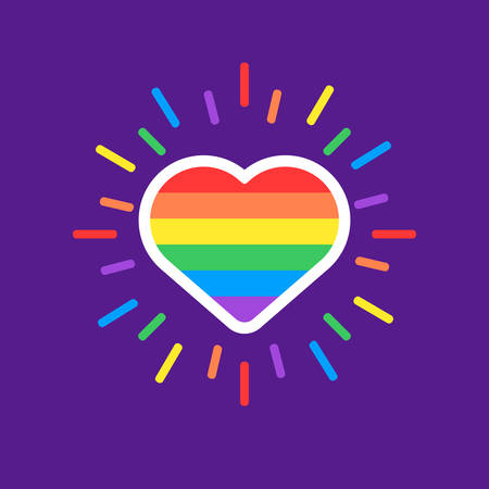 Ilustración de Love is love hearth rainbow spectrum pride flag, isolated on white. LGBT rights concept. Modern poster design. - Imagen libre de derechos