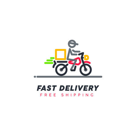 Ilustración de Free shipping. Fast moving shipping delivery motorcycle line art vector icon for transportation apps and websites for E-commerce. Comes out. Deliver. Distribution. - Imagen libre de derechos