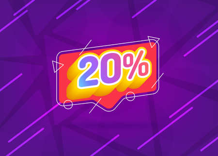 Ilustración de 20% OFF Sale. Discount Price. Special Offer Marketing Ad. Discount Promotion. Sale Discount Offer. 20% Discount Special Offer Banner Design Template. Gradient. - Imagen libre de derechos