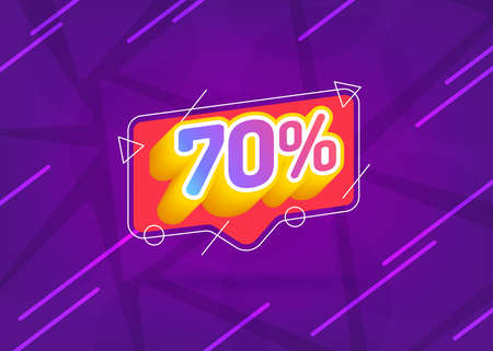 Ilustración de 70% OFF Sale. Discount Price. Special Offer Marketing Ad. Discount Promotion. Sale Discount Offer. 70% Discount Special Offer Banner Design Template. Gradient. - Imagen libre de derechos