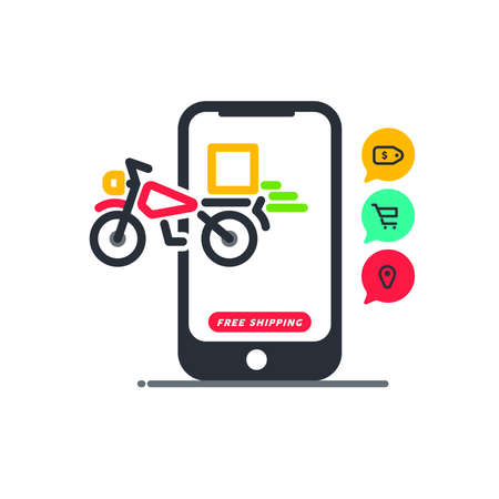 Ilustración de Free shipping. Fast moving shipping delivery motorcycle line art vector icon for transportation apps and websites for E-commerce. Comes out. Deliver. Distribution. Website. App. Digital Store. - Imagen libre de derechos