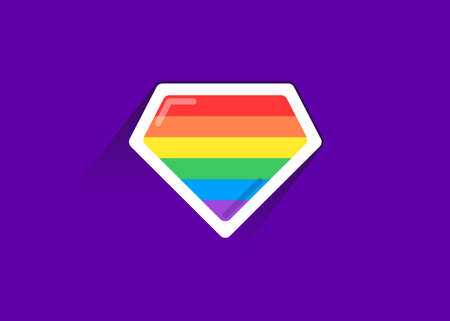 Ilustración de LGBT superhero shield icon. LGBT pride flag in vector format. Rainbow color flag. - Imagen libre de derechos