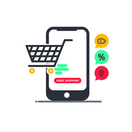 Ilustración de Free shipping. Fast moving shipping delivery shopping cart line art vector icon for transportation apps and websites for E-commerce. Comes out. Deliver. Distribution. Website. App. Digital Store. - Imagen libre de derechos