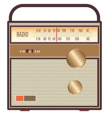 vintage radio in brown and gold colors