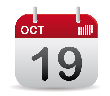 october calendar stand up in red