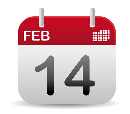 red february calendar stand up, love day