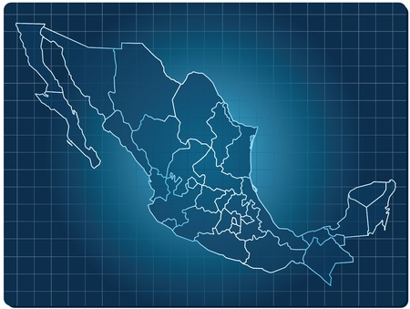 blue dark map of mexico
