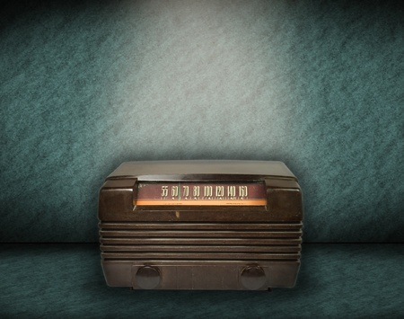 vintage radio on green background